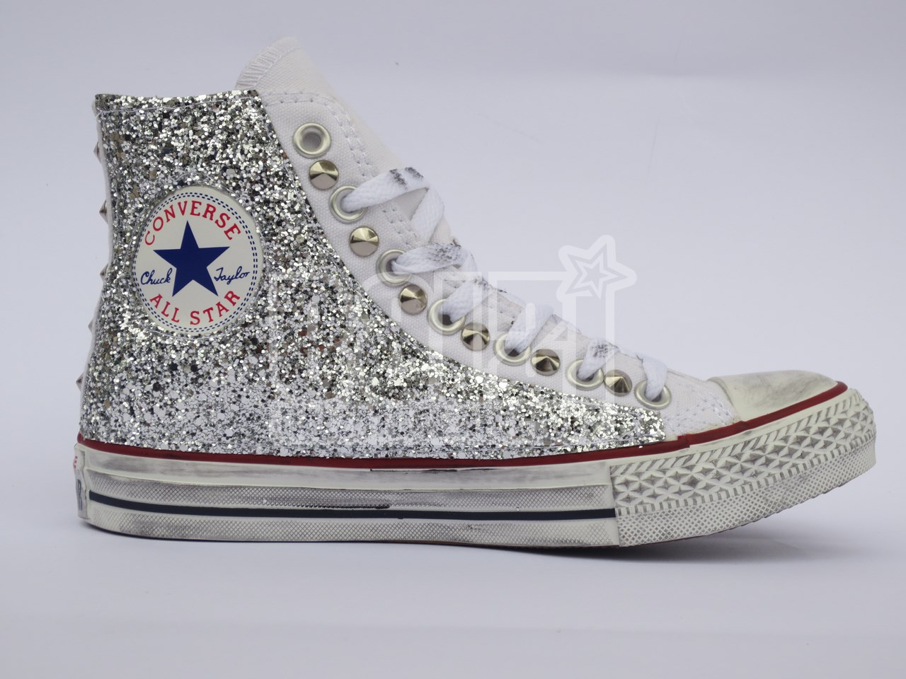 Alta qualit Converse All Star glitter argento