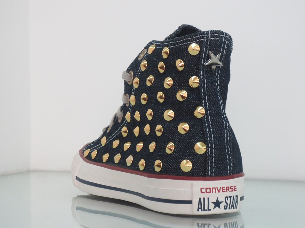Converse all star Hi borchie oro jeans navy denim artigianali