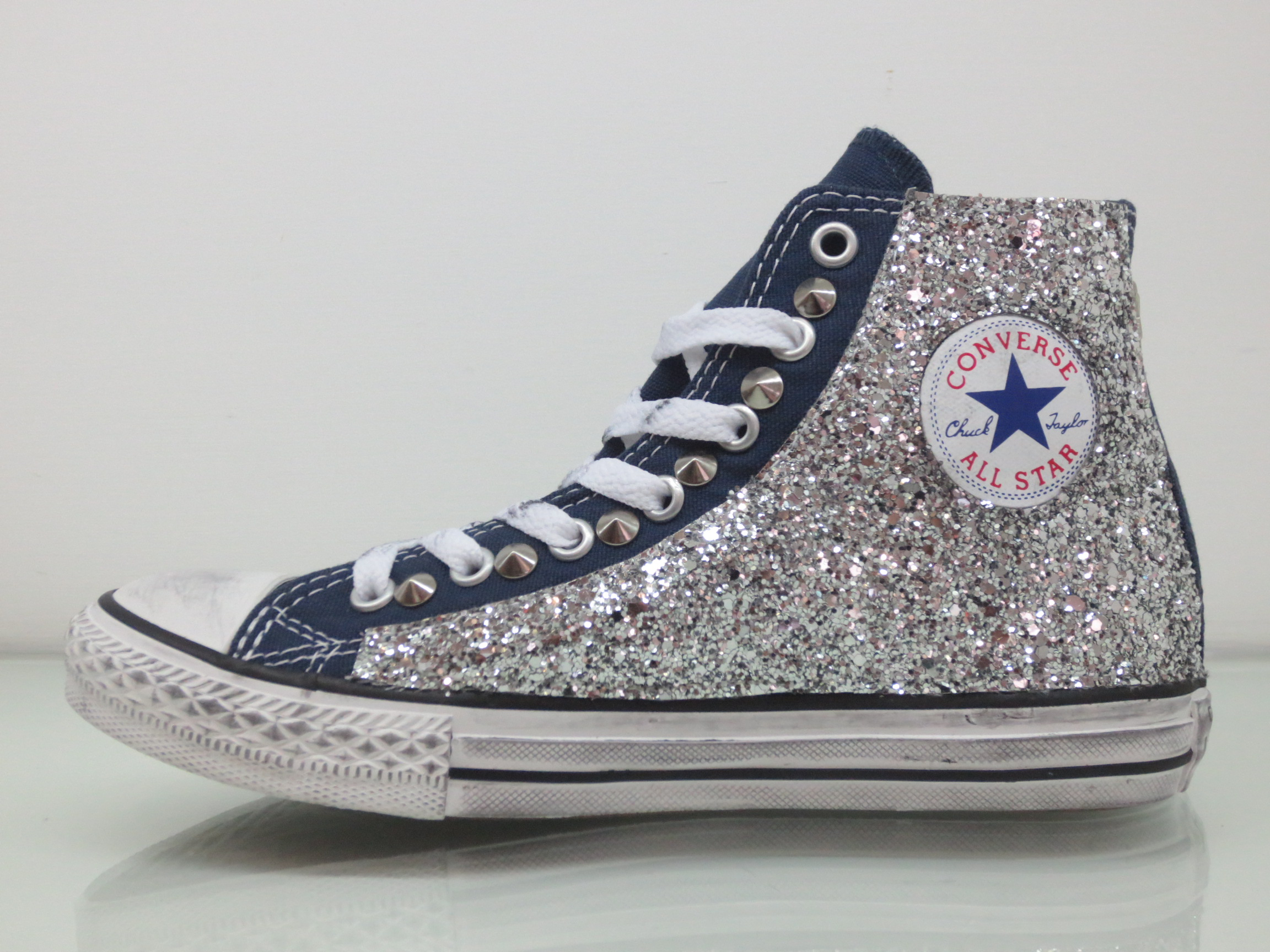 converse all star borchie borchiate con pelle e glitter