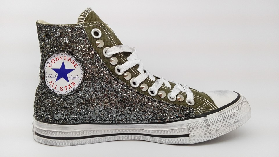 Converse all star Hi borchie scarpe donna uomo artigianali Verde Herbal