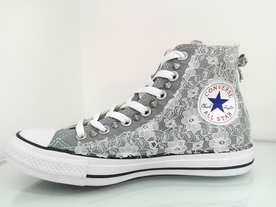 converse in pizzo bianche