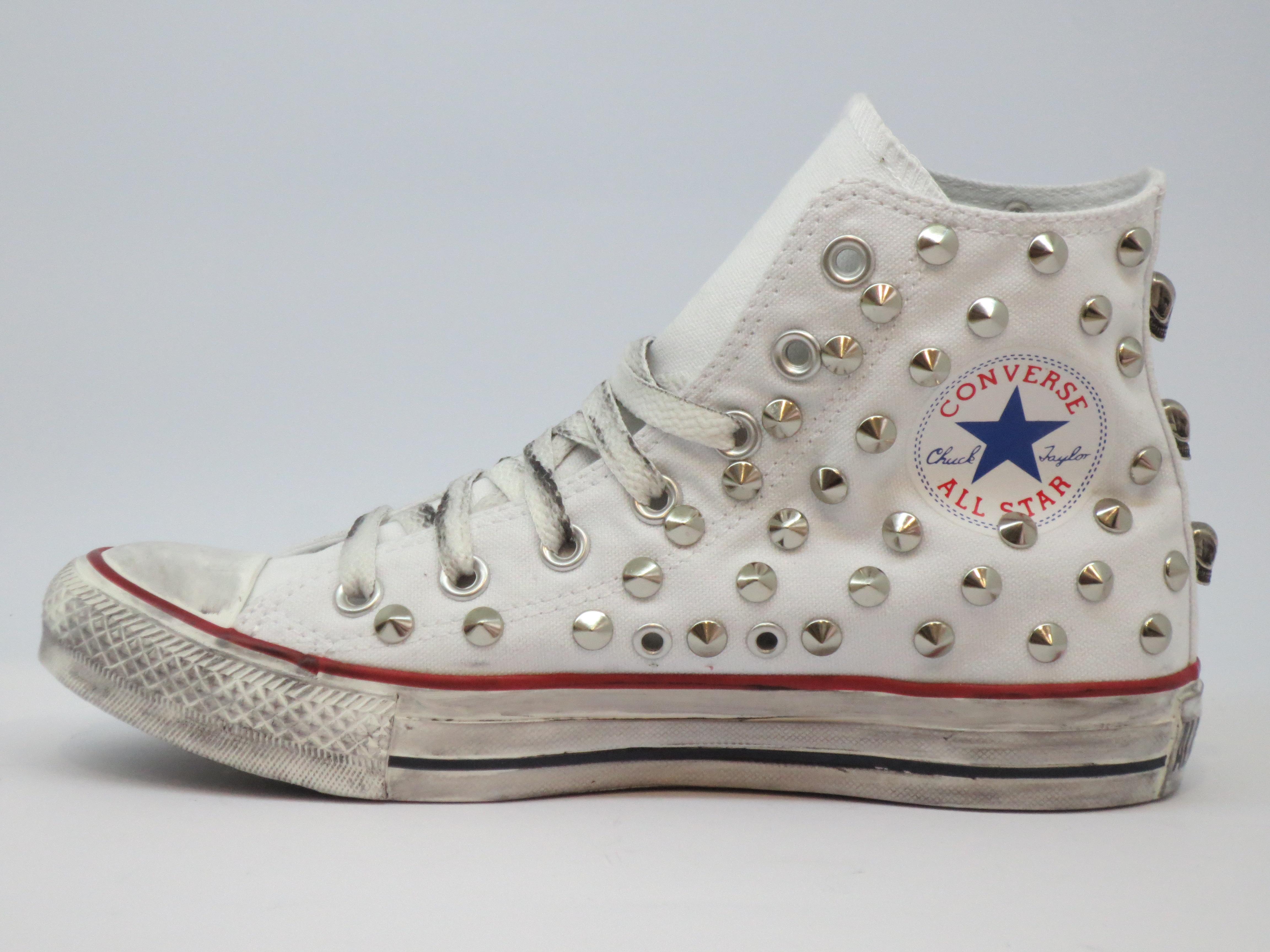 Converse All Star 130 Borchie Personalizzate Teschi Bianche