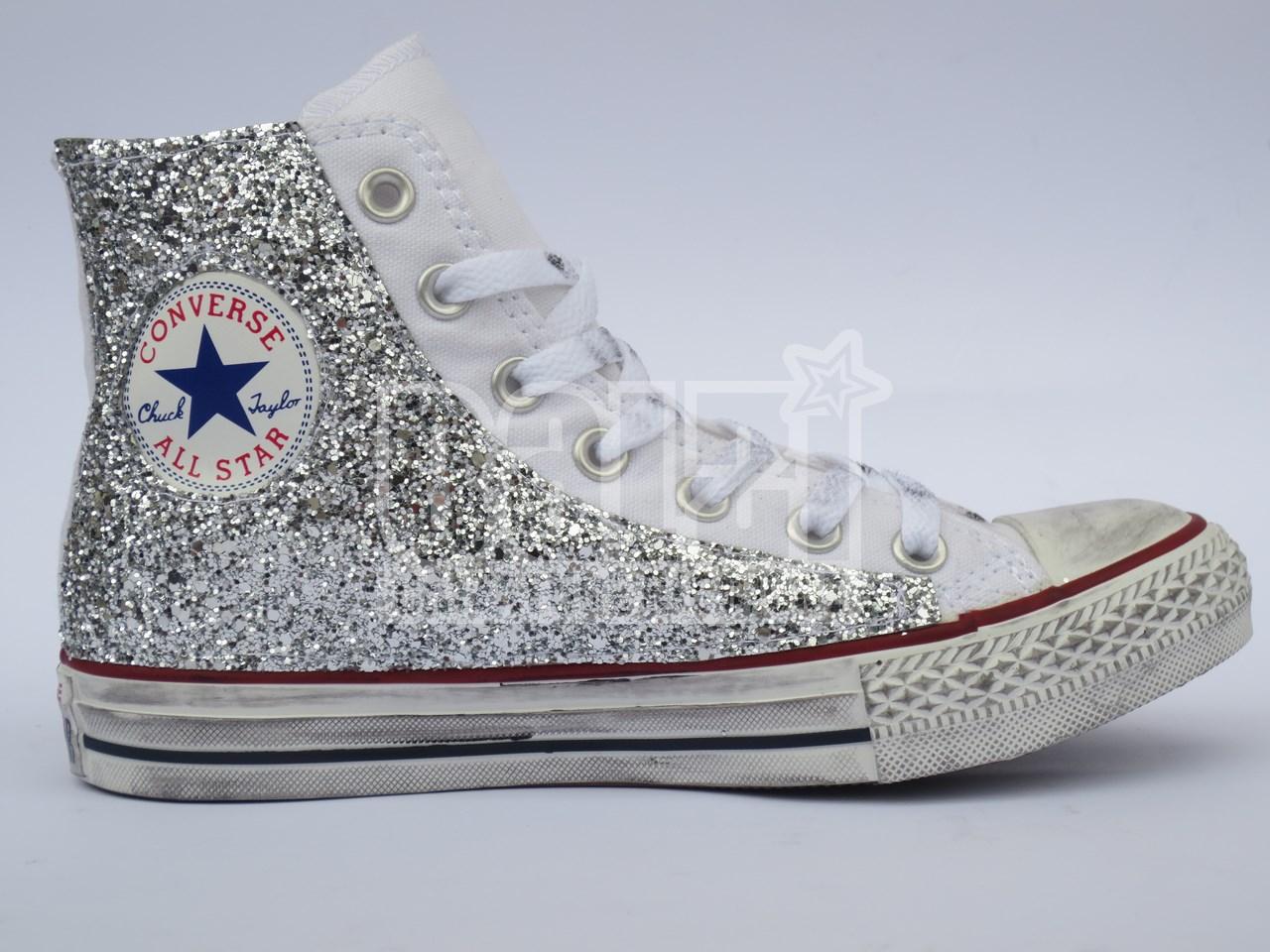 Converse All Star Glitter Argento Personalizzate Bianco Optical White
