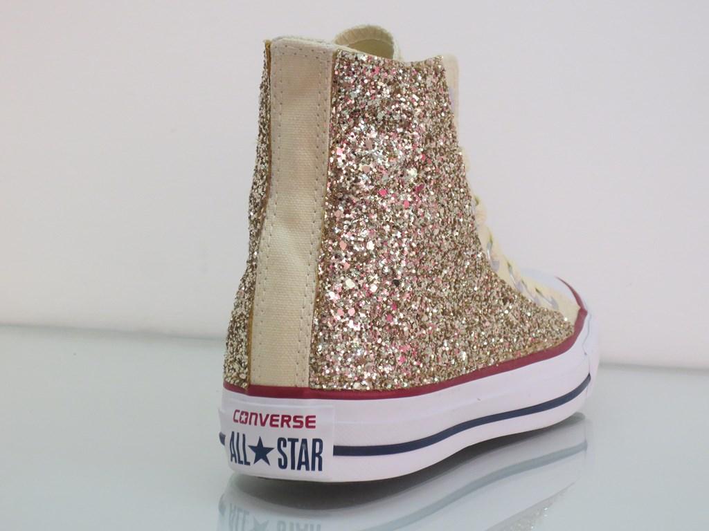 Converse All Star Glitter Oro Personalizzate Beige Natural White