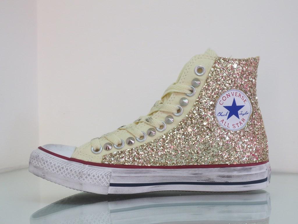 Converse All Star Glitter Oro Personalezzate Beige