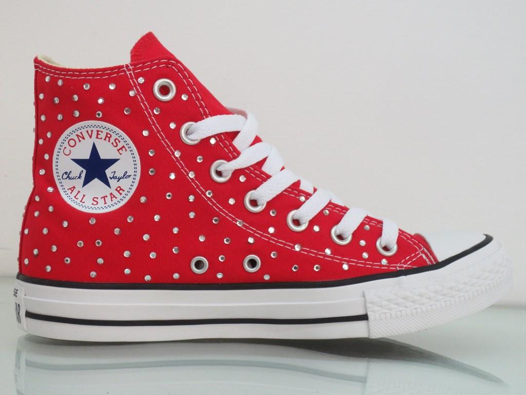Converse All Star Strass Personalizzate Rosso Red