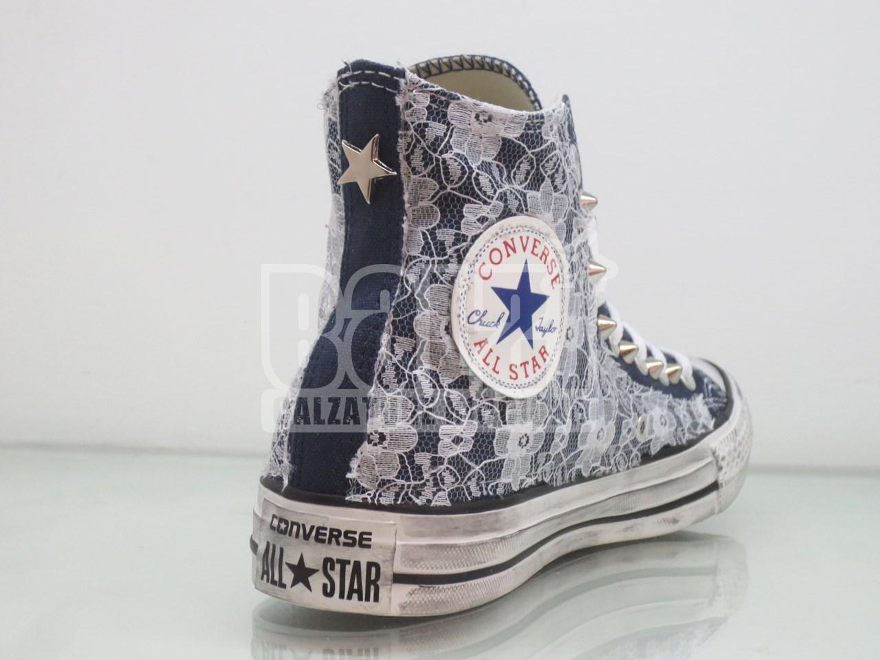 Converse All Star Pizzo Borchie Personalizzate Blu