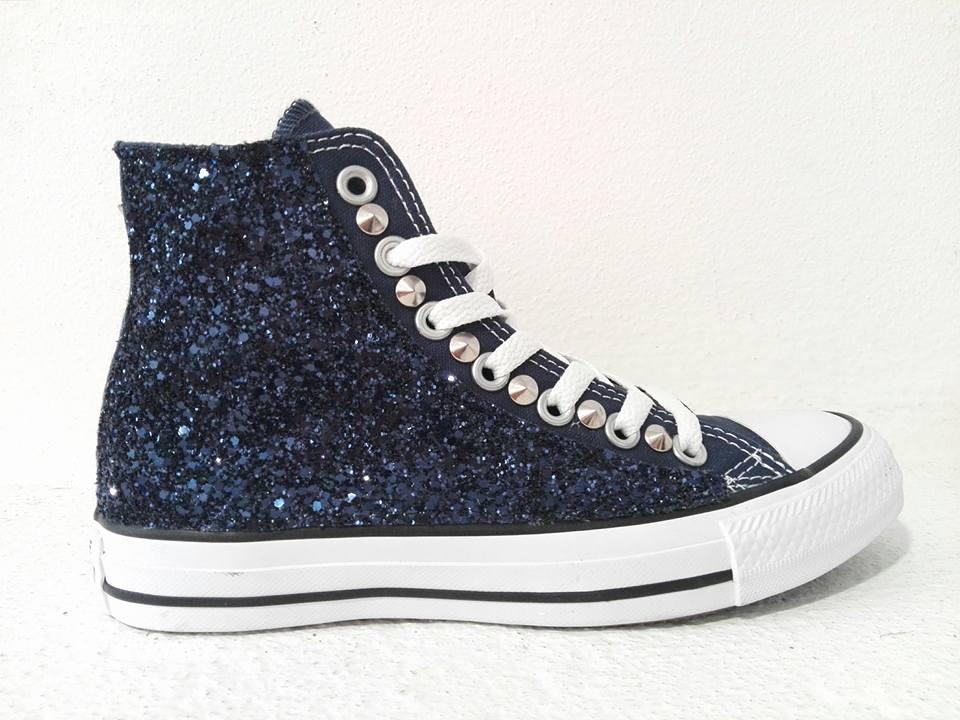 Converse All Star Glitter Blu Personalizzate Blu