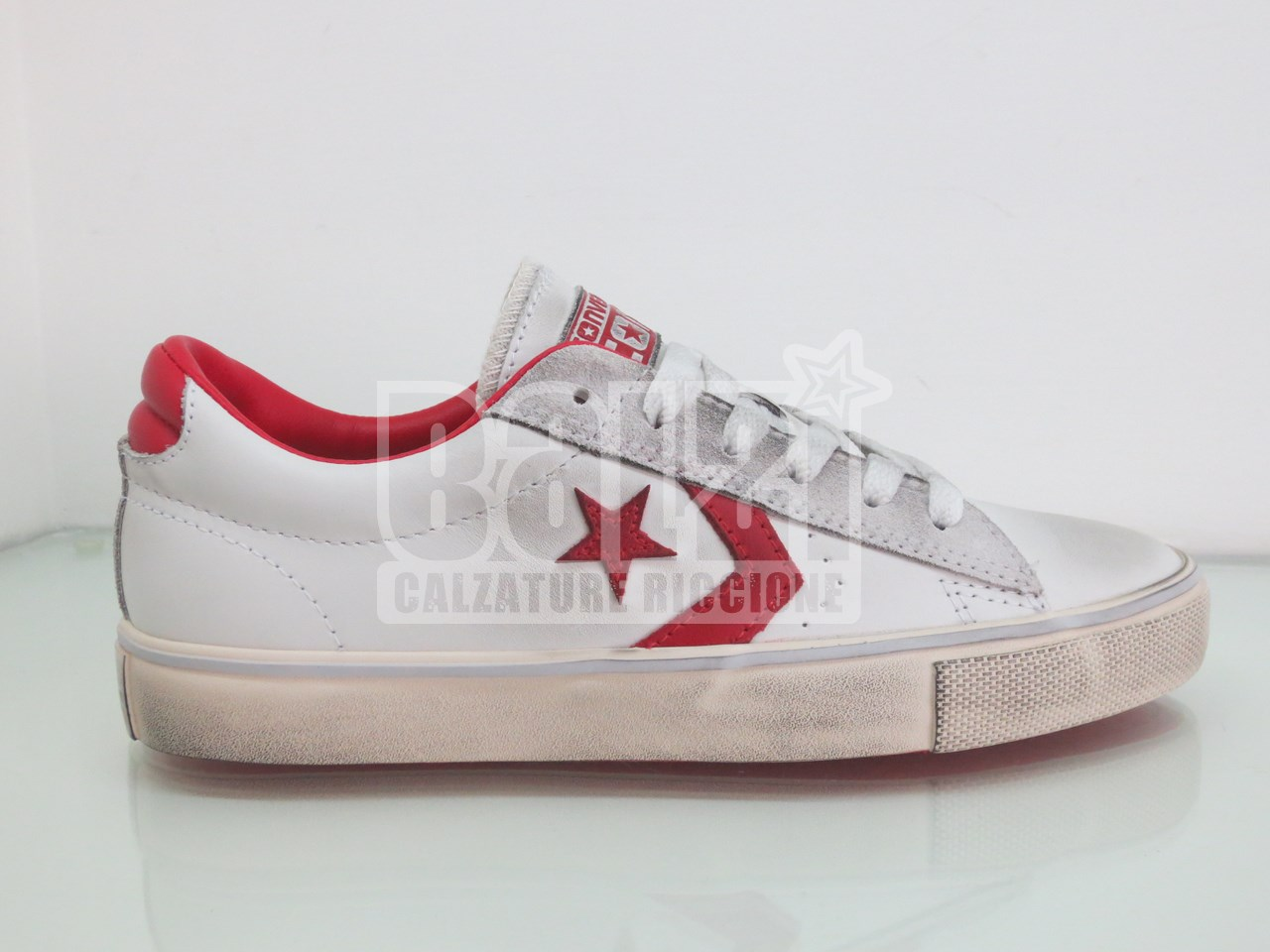 Converse Pro Leather Vulc Ox Basse Pelle Bianco Rosso