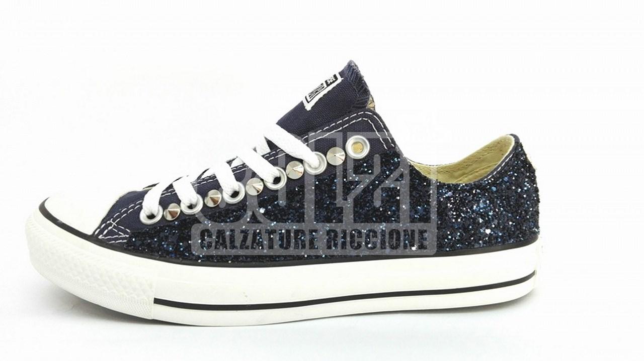 nuovo arrivo 674aa 0730a Converse All Star Basse Glitter Blu Personalizzate Blu
