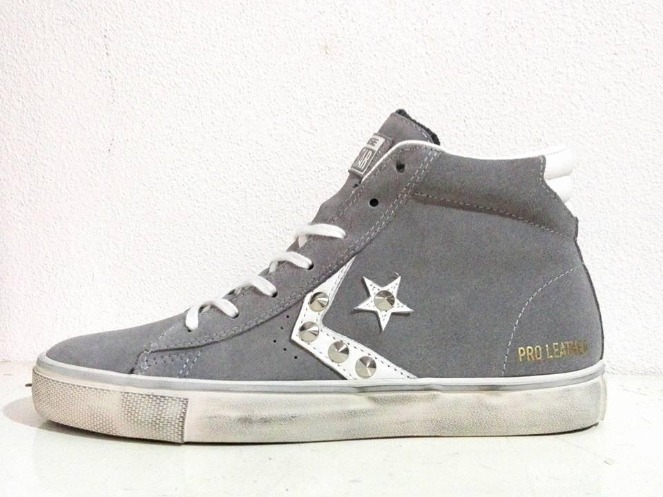 Vendita Online Converse Pro Leather Mid Suede Grigio - Balzi Calzature 03dddf14a