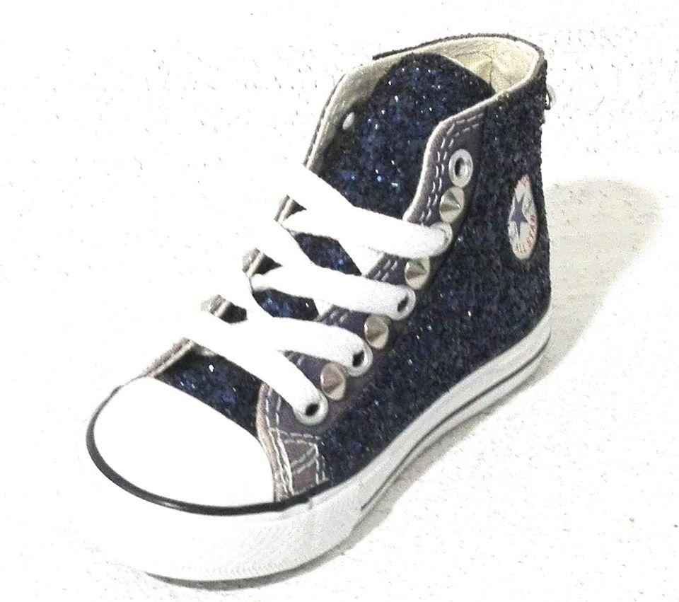Converse All Star Bambina Glitter Blu Personalizzate Borchie